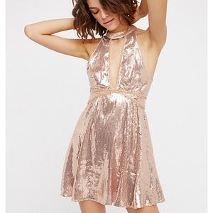Free People Gold Sequin Film Noir Cocktail Dress 2